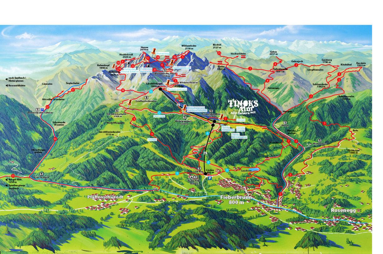 Bergbahn Wanderkarte Panorama 2018